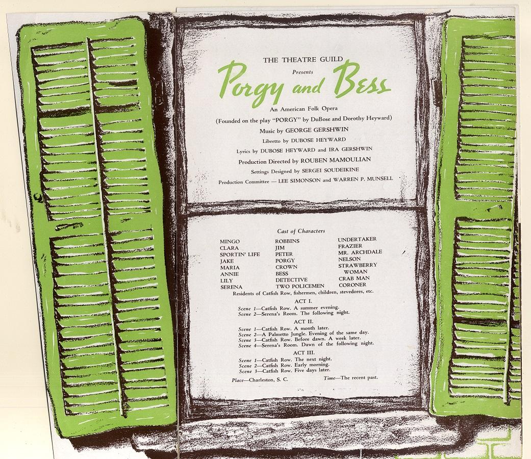 Porgy and Bess original cast program