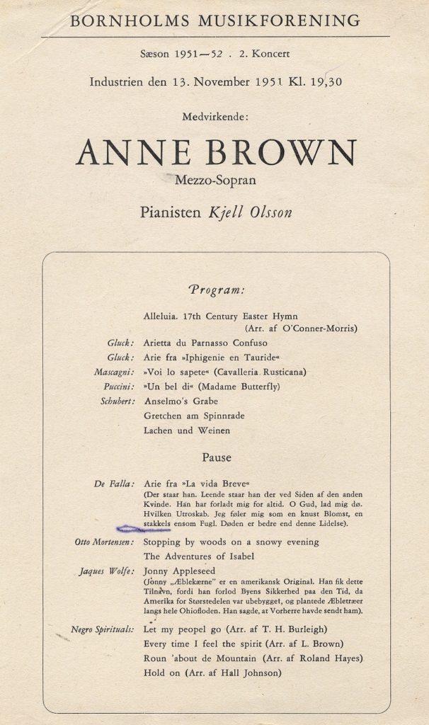Anne Brown, concert program