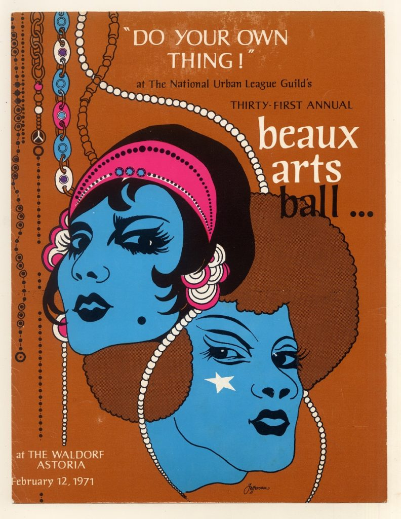Cover drawing for the 1971 National Urban League's Beaux Arts Ball.