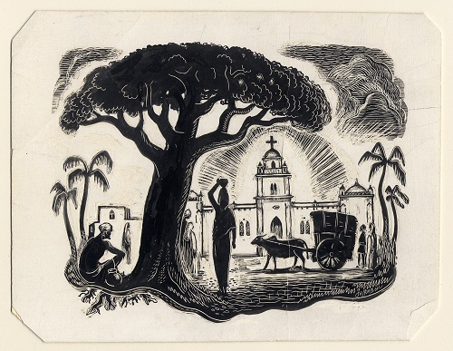 An ink sketch featuring a woman carrying a jar under her head, underneath a shade tree with a church in the foreground.
