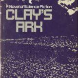 "Covert art white design on purple background for ""Clay's Ark."""