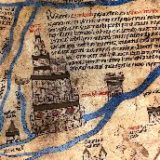 A drawing of the Tower of Babel, as featured on the Hereford Mappa Mundi. It is drawn with thin black lines and has gold and red accents. The tower is formed by 5 successively smaller tiers. There is writing describing the tower next to it.