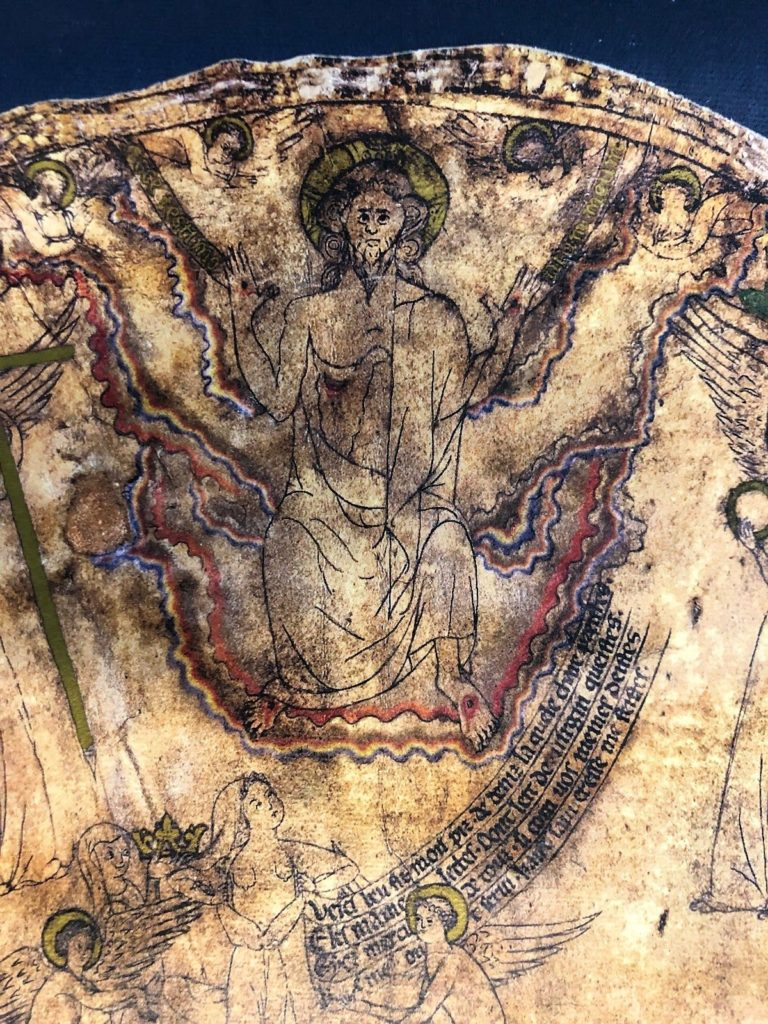 Detail of Christ at the uppermost point of the Hereford Mappa Mundi