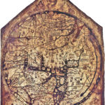 Full image of the Hereford Mappa Mundi, a map in the round painted on vellum from the 13th/14th century. This map presents biblical, mythological, and geographical information to show the image of Europe, Africa, and Asia from the medieval mindset.