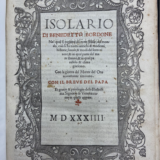 Frontispiece, Benedetto Bordone, Isolario di Benedetto Bordone nel qual si ragiona di tutte l'isole del mondo, con li lor nomi antichi & moderni, historie, fauole, & modi del loro viuere… . The title, date, and creator of the Isolario is set and printed in the center of the page, surrounded by a decorative rectagular border that contains flourishes of flowers, leaves, and vines.