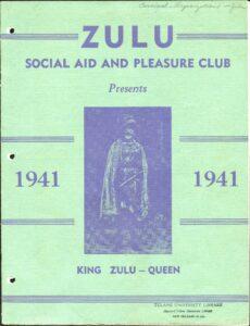 1941 Zulu Social Aid and Pleasure Club Pamphlet