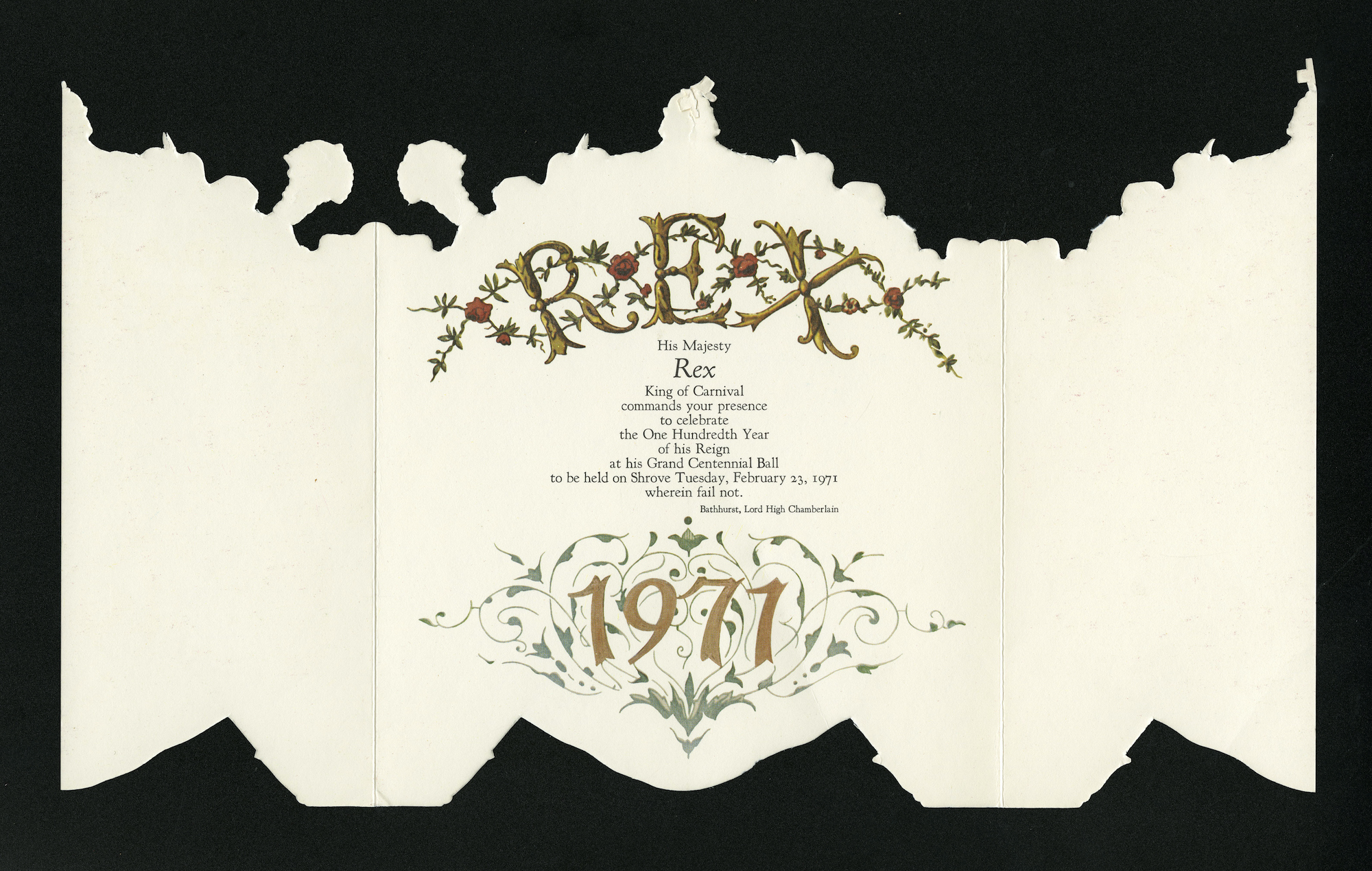 Rex Carnival Krewe 1971 Mardi Gras ball invitation interior